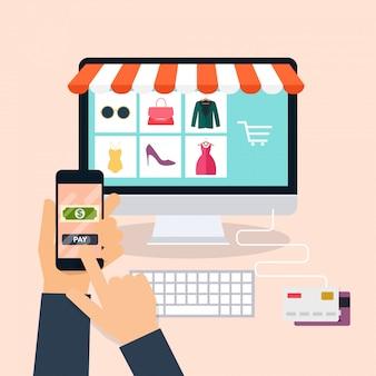 Handel elektroniczny, biznes elektroniczny, zakupy online, płatności, dostawa, proces wysyłki, sprzedaż. koncepcja plansza.