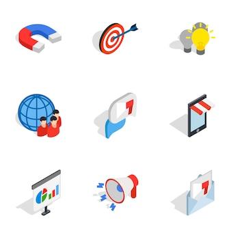 Handel elektroniczny ikony, izometryczny styl 3d