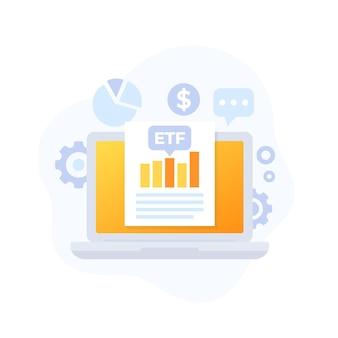Handel etf, fundusze etf, grafika wektorowa analizy finansowej