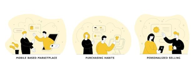 Handel i handel w internetowym zestawie płaskich liniowych ilustracji. rynek mobilny, nawyki zakupowe, spersonalizowana sprzedaż. postaci z kreskówek ludzi