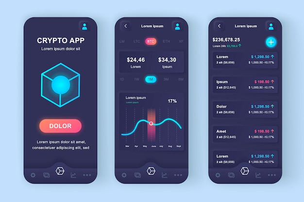 Handel kryptowalutami nowoczesna aplikacja mobilna z interfejsem użytkownika neumorficznego
