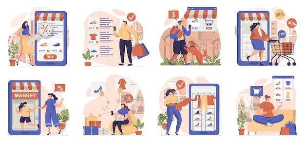 Handel mobilny kolekcja izolowanych scen ludzie robią zakupy i płacą za zamówienia w aplikacjach