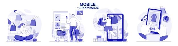 Handel mobilny wyizolowany w płaskiej konstrukcji ludzie robiący zakupy w e-commerce w aplikacji mobilnej