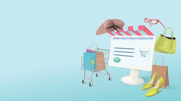 Handel online. baner na zakupy z realistycznymi elementami do zakupów reklamowych za pośrednictwem komputera w domu