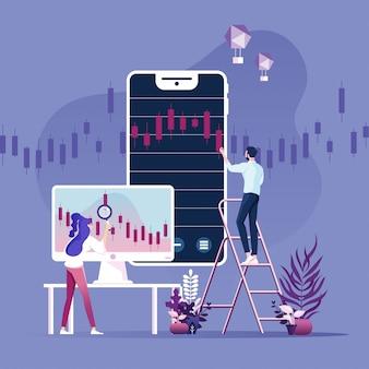 Handel online, bankowość, inwestycje koncepcja wektor