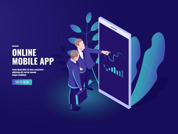 Handel online ikona izometryczny, dwóch biznesmenów mówi, analityka biznesowa