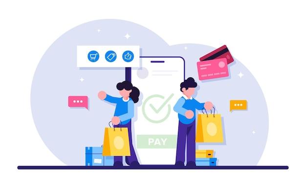 Handel online. technologia e-biznesowa lub e-commerce.