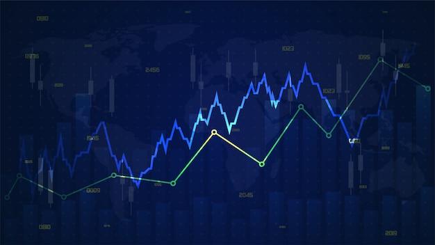Handel tła z ilustracjami wykresów tętna rosnących powyżej przezroczystego niebieskiego
