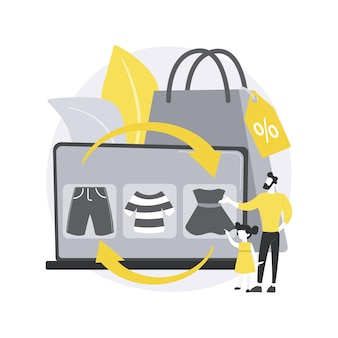 Handel ubraniami dla dzieci w abstrakcyjnej koncepcji ilustracji.