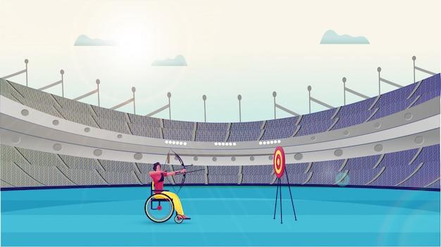 Handicap człowiek biorąc cel z bow arrow w tarczy na stadionie
