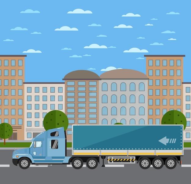 Handlowa ciężarówka na drodze w mieście