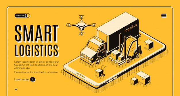 Handlowa usługa dostawy, firma logistyczna firmy inteligentne technologie izometryczny wektor web banner