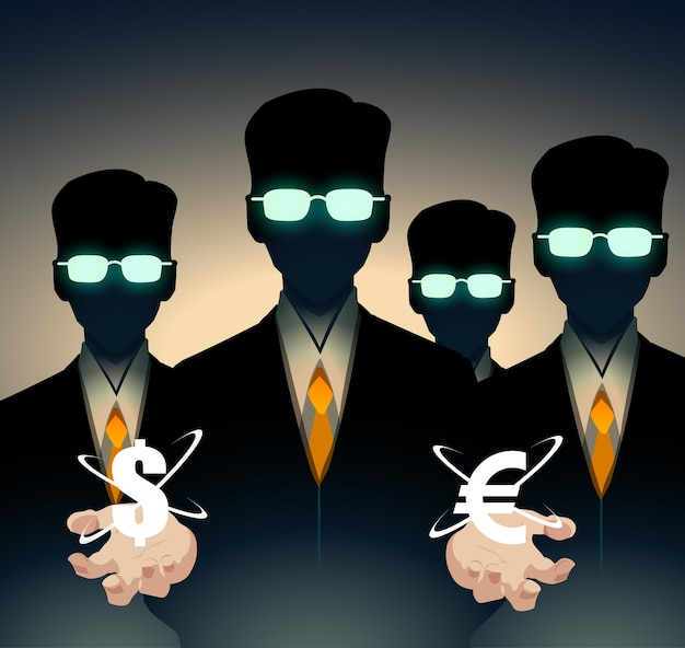 Handlowcy i analitycy w garniturach, inteligentni ludzie. w rękach znak euro i dolara.