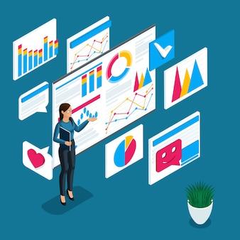 Handlowiec, ucząc się gry na giełdzie, notowań, wykresów, wykresów i danych licytacyjnych