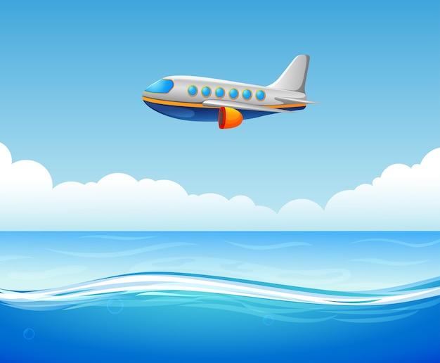 Handlowy samolot lecący nad morzem