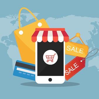 Handlu elektronicznego płaskiej ikony wektorowy ilustracyjny pojęcie
