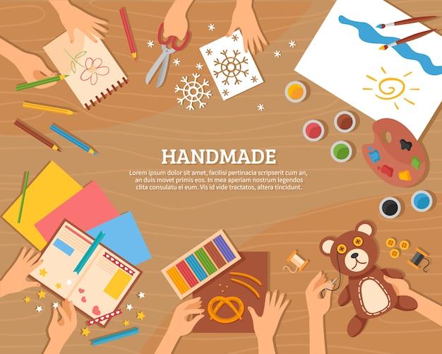 Handmade koncepcja w stylu płaski