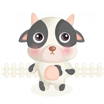 Handraw zwierząt gospodarskich z cute owiec