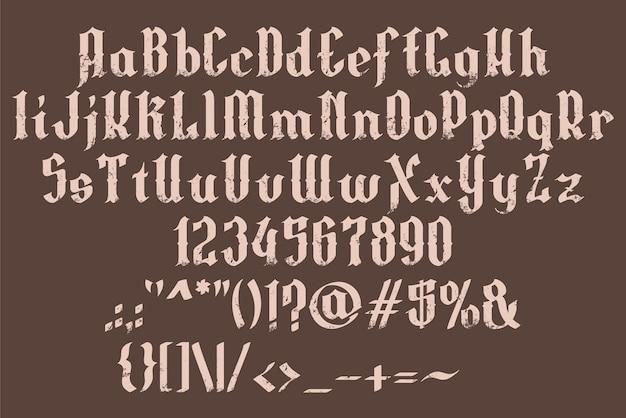 Handrawn gotycka czcionka alfabetu grunge