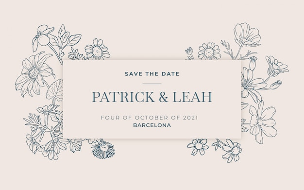 Handrawn kwiatowy zaproszenie na ślub