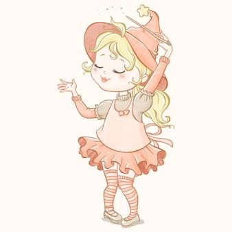 Handrawn śliczna mała czarownica