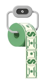 Hank pieniędzy dolara papieru toaletowego. inwestycja w śmieci. utrata lub marnowanie pieniędzy, nadmierne wydatki, bankructwo lub kryzys. ilustracja wektorowa w stylu płaski