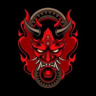 Hannya, tradycyjna japońska maska demona oni z ogniem