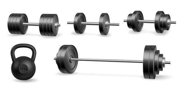 Hantle sztanga i sprzęt fitness i kulturystyka wagi realistyczne na białym tle. 3d kolekcja sprzętu do ćwiczeń i fitness. ilustracja wektorowa