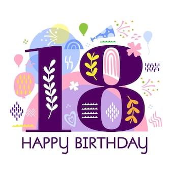 Happy 18 urodziny motywu tła