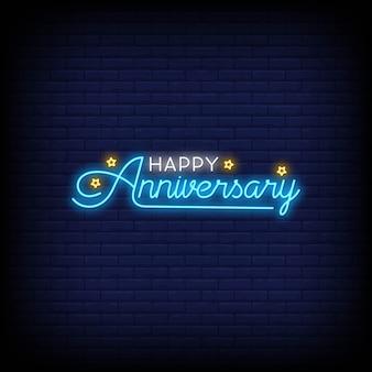 Happy anniversary na plakat w stylu neonowym
