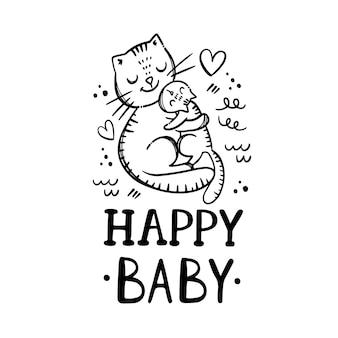 Happy baby. słodkie koty zwierzęta. tekst pisma ręcznego monochromatyczne ręcznie rysowane clipartów zestaw ilustracji