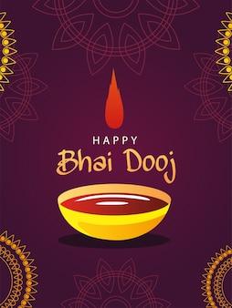 Happy bhai dooj z miską bindi i mandalami, motywem festiwalu i uroczystości
