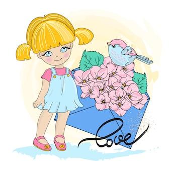Happy bird zestaw ilustracji walentynki