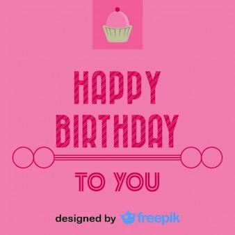 Happy birthday cupcake pocztówka styl vintage