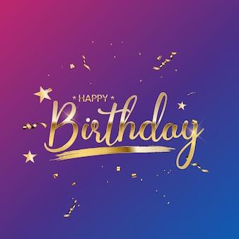 Happy birthday gratulacje projekt z konfetti i błyszczącą wstążką z brokatem
