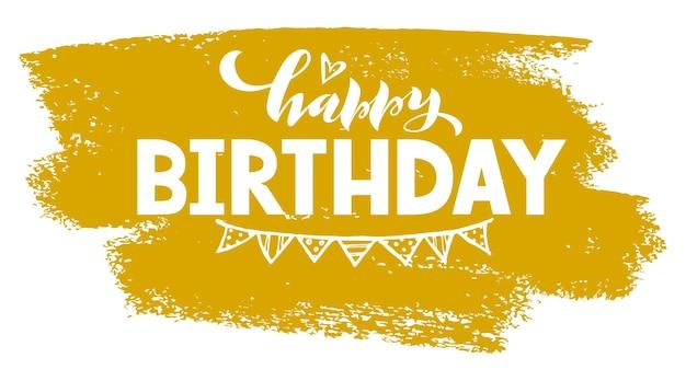 Happy birthday napis typografia plakat cytat z okazji na kartkę ze szkicownikiem