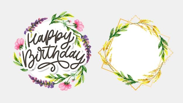 Happy birthday napis z kwiatami