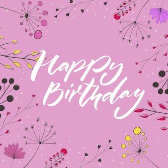 Happy birthday niebieski tekst w kwiatowy fram z różowymi kwiatami i gałęziami szablon karty z pozdrowieniami