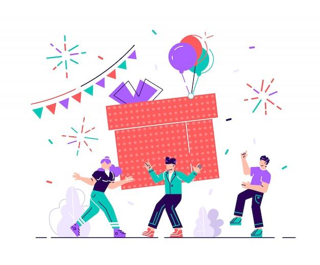 Happy birthday party celebration z przyjacielem. projekt prezentu na świąteczne powitanie. dekoracja przyjaźni firmy. rocznica konfetti na śmieszne kreskówka płaskie ilustracja niespodzianka