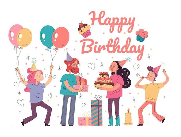 Happy birthday party event concept wektor ilustracja kreskówka płaska graficzna