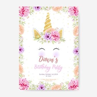 Happy birthday party plakat szablon z cute jednorożca grafiki i kwiatów ramki