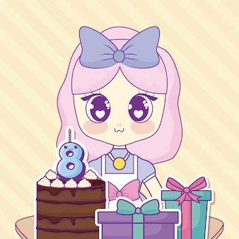 Happy birthdaydesign z dziewczyną z kawaii anime