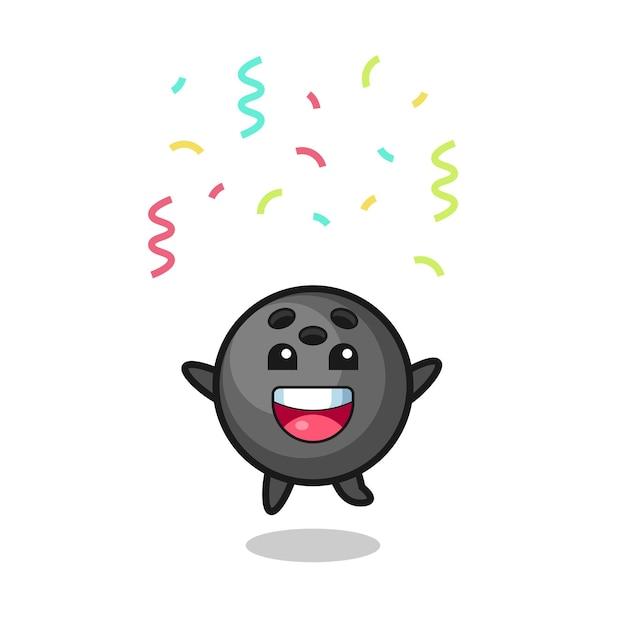 Happy bowling ball maskotka skacząca na gratulacje z kolorowym konfetti, ładny styl na koszulkę, naklejkę, element logo