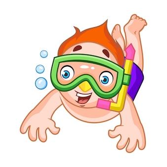 Happy boy snorkeling