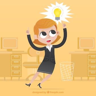 Happy businesswoman o dobry pomysł