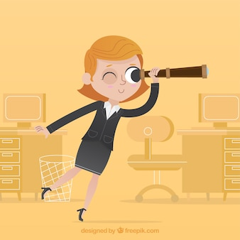 Happy businesswoman patrz? c na przysz? o ??