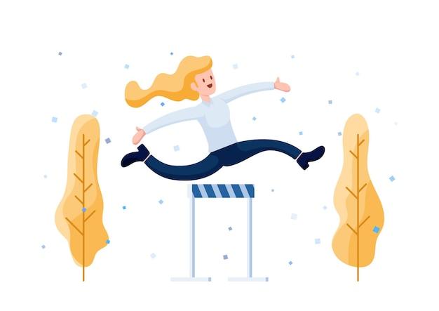 Happy businesswoman skoki uroczystość nad przeszkodą. pokonywanie przeszkód i koncepcja rozwoju kariery.