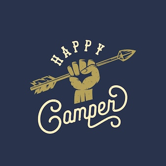 Happy camper streszczenie vintage znak, symbol lub szablon logo.