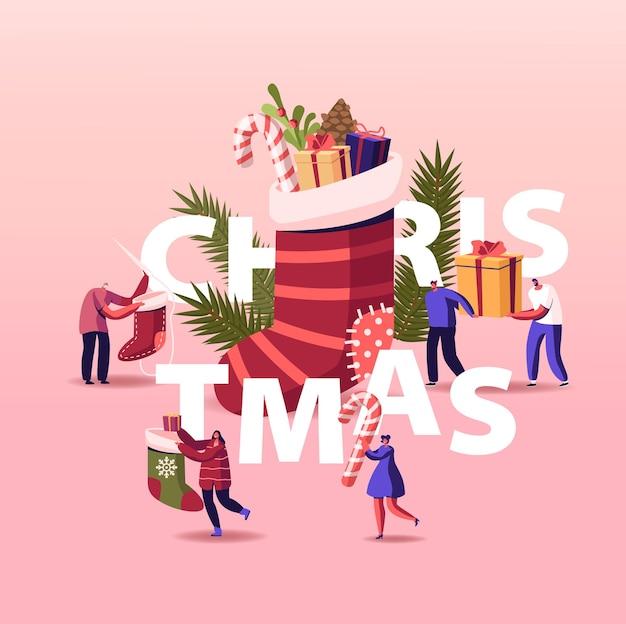 Happy characters świętuje boże narodzenie, kartka świąteczna