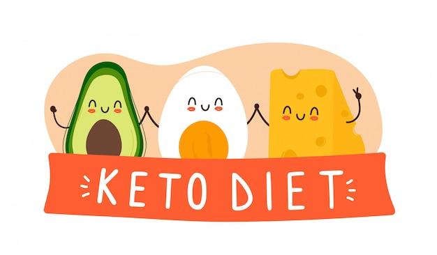Happy cute awokado, jajko na twardo i ser